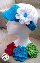 visor with flowers crochet pattern
