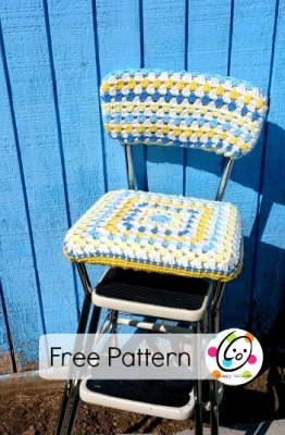 Diy: old stool, new look with a crocheted seat cover