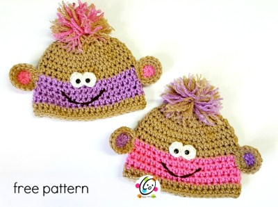 Free Pattern: Twin Baby Monkey Beanies