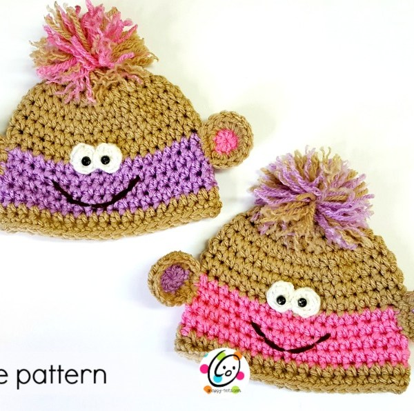 Pattern: Twin Baby Monkey Beanies