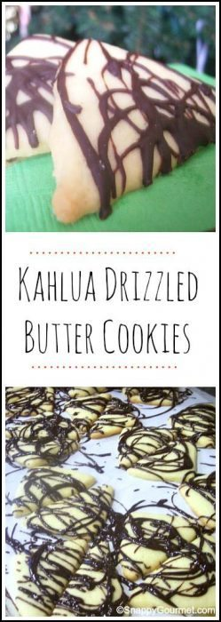 Kahlua Drizzled Butter Cookies recipe - easy homemade butter cookies with chocolate and kahlua. SnappyGourmet.com