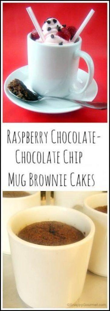 Raspberry Chocolate - Chocolate Chip Mug Brownie Cakes Recipe - easy homemade mug cake. SnappyGourmet.com