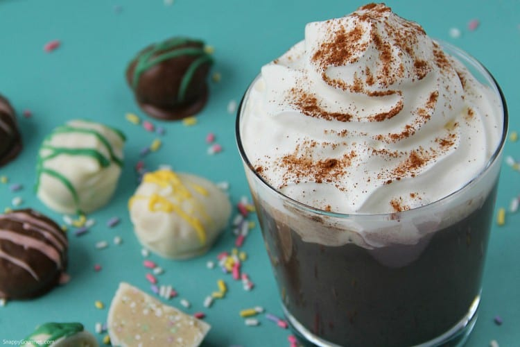 Homemade Chocolate Eggnog (Easter Cocktail) - in a glass with whipped cream and candy