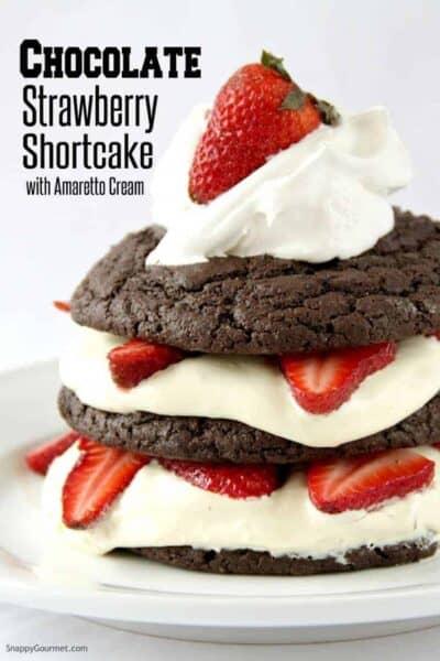 Chocolate Strawberry Shortcake with white background