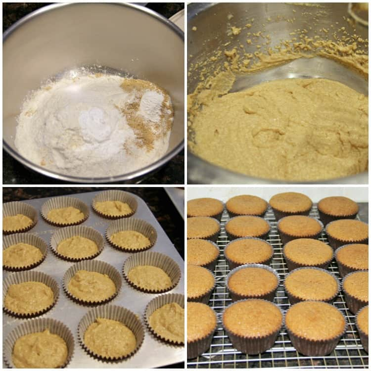 graham cracker cake batter and in cupcake liners