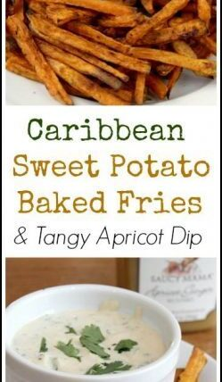 Caribbean Sweet Potato Baked Fries and Tangy Apricot Dip - easy homemade fries with a quick dip. SnappyGourmet.com