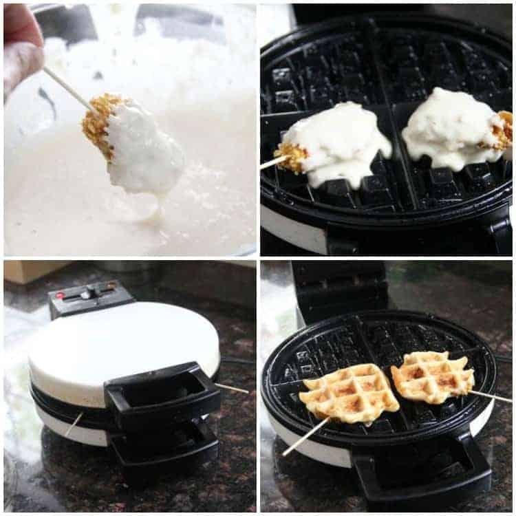Chicken Stuffed Waffle Pops - waffle batter and waffle iron