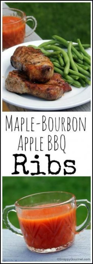 Maple Bourbon Apple BBQ Ribs recipe - easy homemade BBQ sauce and ribs great for summer and fall! SnappyGourmet.com