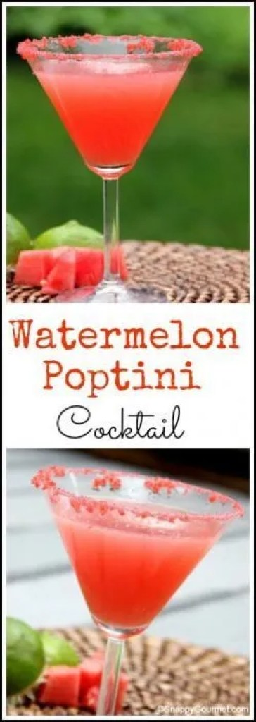 Watermelon Poptini Cocktail Recipe - easy summer drink with Pop Rocks, watermelon, and vodka! SnappyGourmet.com