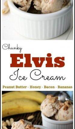 Chunky Elvis Ice Cream recipe - homemade ice cream with peanut butter, bananas, honey, and bacon! SnappyGourmet.com