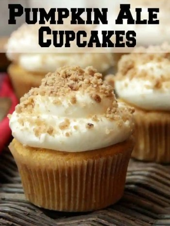 Pumpkin Ale Cupcakes recipe with homemade cream cheese frosting and streusel topping