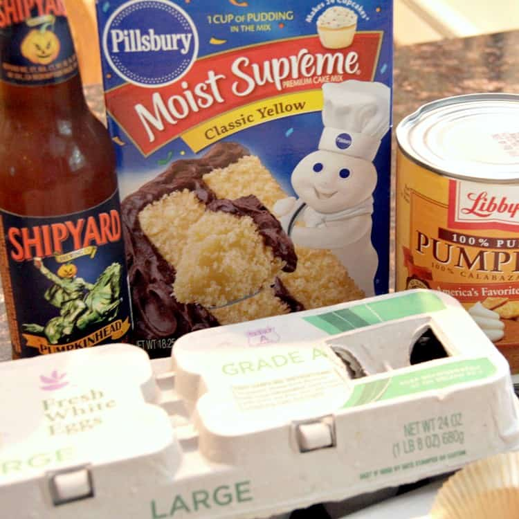 Pumpkin Ale Cupcakes - ingredients include yellow cake mix, canned pumpkin, and pumpkin beer