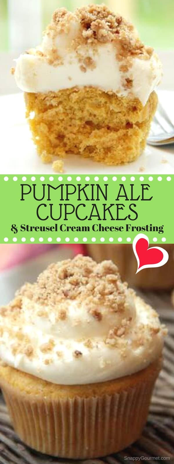 Pumpkin Ale Cupcakes with Streusel Cream Cheese Frosting and Streusel Topping - an easy homemade cupcake recipe with a little help from a cake mix, canned pumpkin, and beer. #pumpkin #cupcake #beer #SnappyGourmet #Homemade #Fall #Thanksgiving #Dessert #Recipe