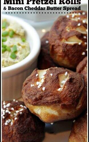 Mini Pretzel Rolls with Bacon Cheddar Butter Spread recipe - easy homemade rolls that make a great snack or appetizer! SnappyGourmet.com