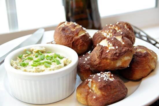 Mini Pretzel Rolls with Bacon Cheddar Butter Spread Recipe   SnappyGourmet.com