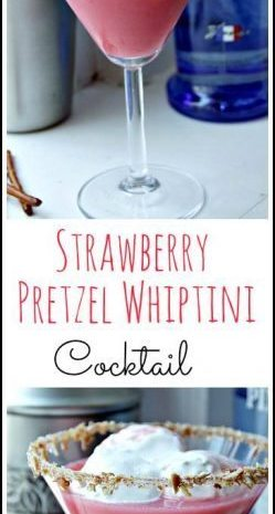 Strawberry Pretzel Whiptini cocktail recipe - easy drink based on the fun strawberry pretzel dessert! SnappyGourmet.com