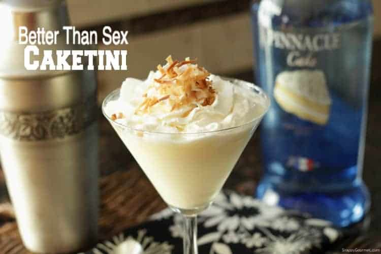 Better Than Sex Caketini Cocktail Recipe - Better Than Sex Cake drink based on the pineapple coconut cake. SnappyGourmet.com