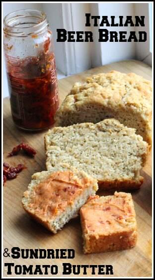 Italian Beer Bread & Sundried Tomato Butter - homemade beer bread recipe | SnappyGourmet.com