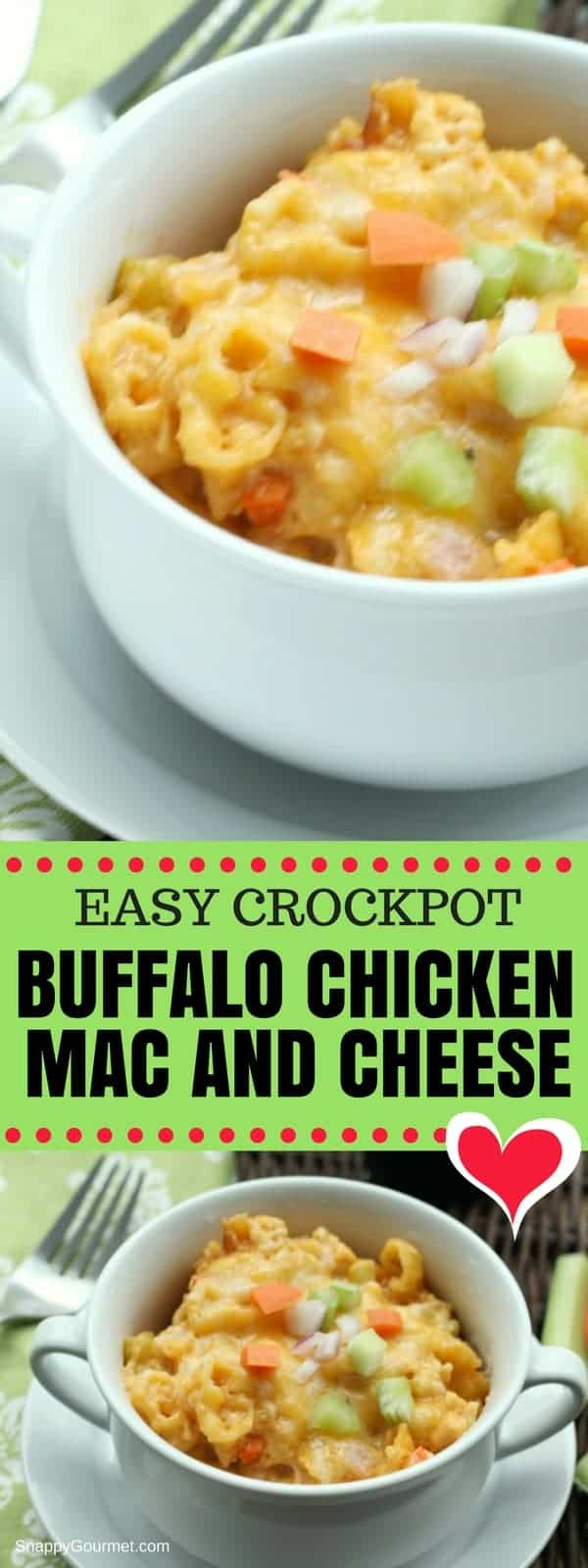 Buffalo Chicken Mac and Cheese (Crockpot) Recipe - The best easy buffalo chicken macaroni and cheese made in a slow cooker. You don't even have to precook the pasta! It's loaded with chicken, pasta, veggies, cheese, and hot sauce. #Buffalo #Chicken #Crockpot #SnappyGourmet #MacAndCheese #Dinner #DinnerIdeas #Homemade #Spicy #Best #Pasta #SuperBowl