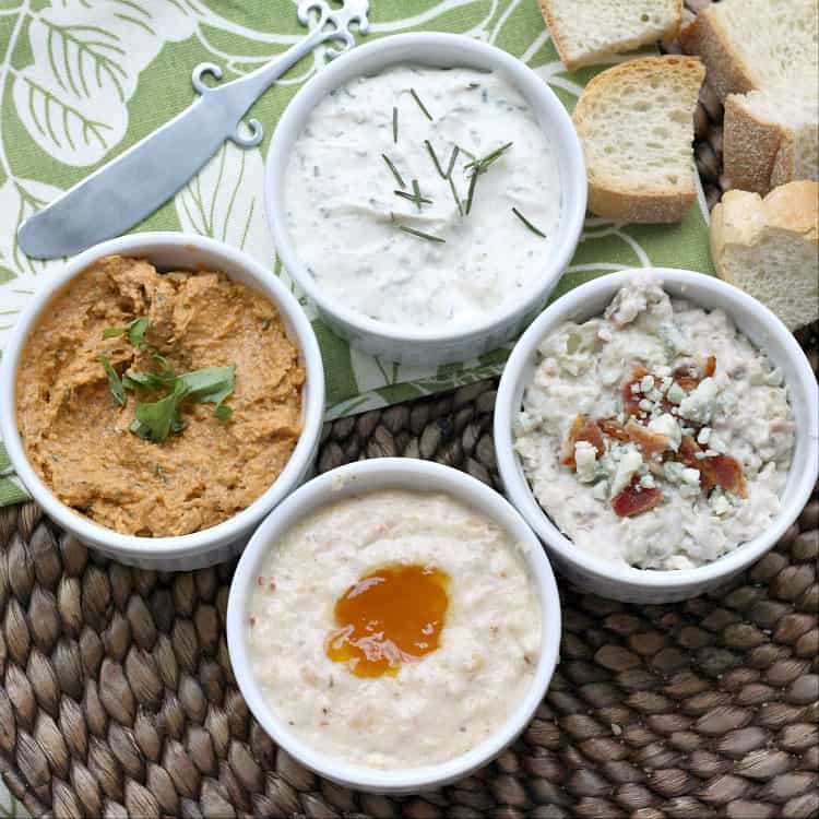 4 spreads in white bowls