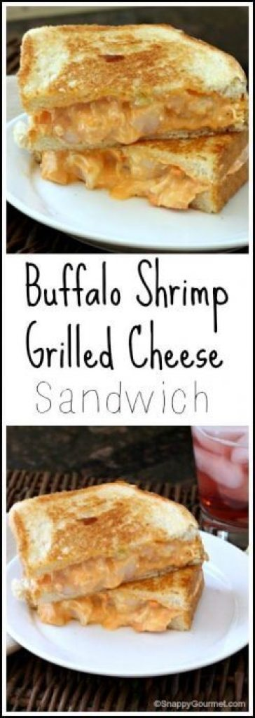 Buffalo Shrimp Grilled Cheese Sandwich Recipe - easy lunch or dinner with hot sauce, shrimp, and veggies! SnappyGourmet.com