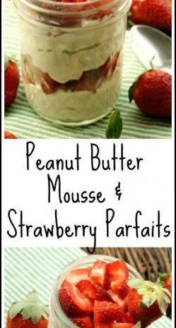 """Peanut Butter """"Mousse"""" & Strawberry Parfaits"""