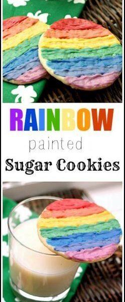 Rainbow Painted Sugar Cookies recipe & easy fun kid craft in one! SnappyGourmet.com