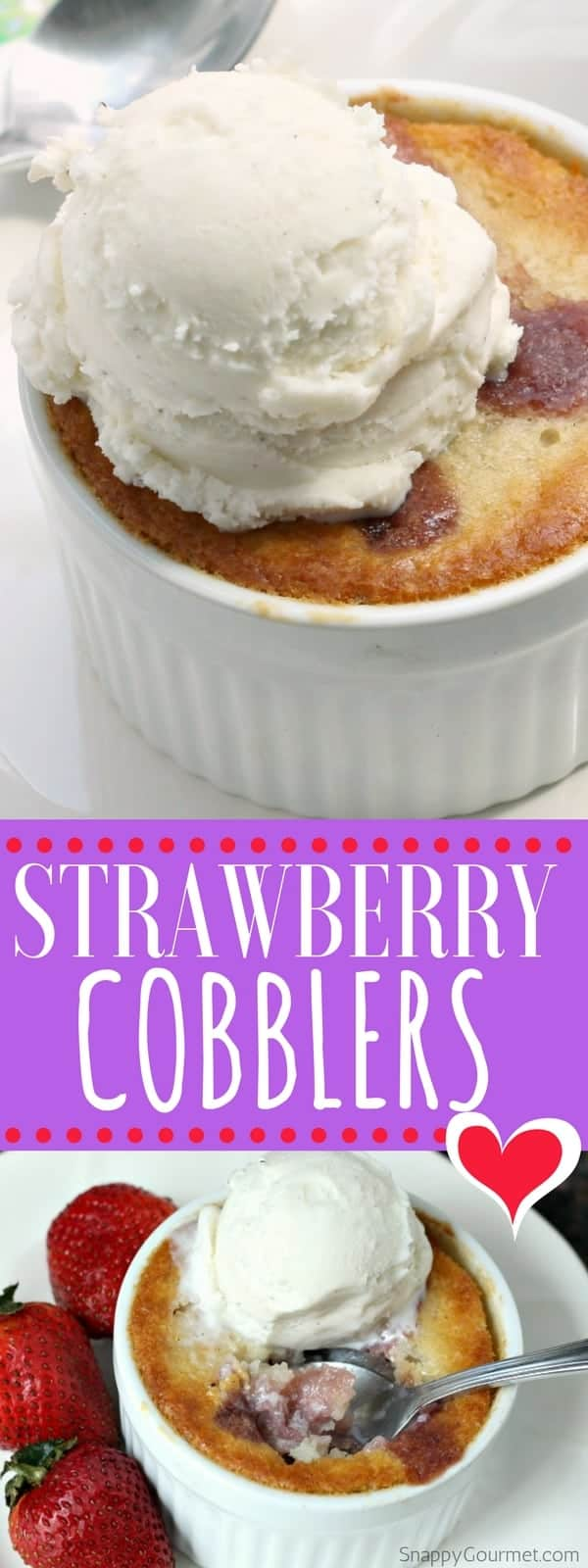 Strawberry Cobbler Recipe - individual easy strawberry cobblers with fresh strawberries baked in ramekins. Simple dessert idea!