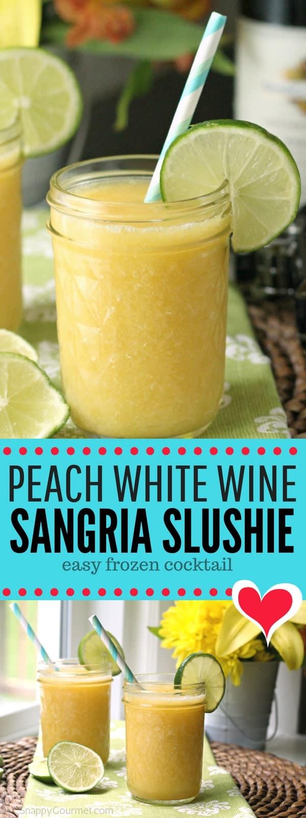 Peach White Wine Sangria Slushie - easy frozen cocktail recipe