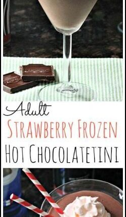 Adult Strawberry Frozen Hot Chocolatetini - easy chocolate dessert cocktail drink recipe   SnappyGourmet.com