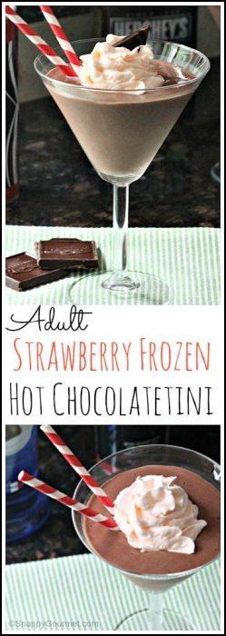 Adult Strawberry Frozen Hot Chocolatetini recipe - easy chocolate dessert cocktail drink recipe   SnappyGourmet.com