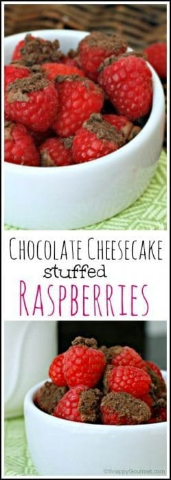 Chocolate Cheesecake Stuffed Raspberries - easy snack or dessert with only 5 ingredients! SnappyGourmet.com