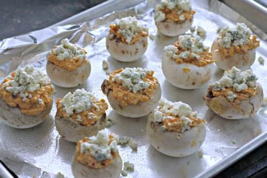 Buffalo Chicken Stuffed Mushrooms recipe - gluten free appetizer | SnappyGourmet.com