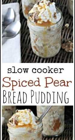 Spiced Pear Bread Pudding (Slow Cooker)