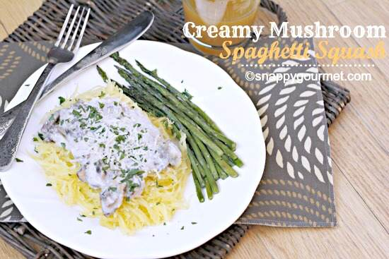 Creamy Mushroom Spaghetti Squash   SnappyGourmet.com