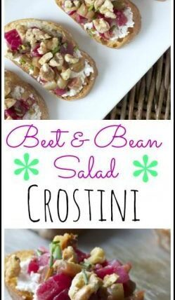 Beet & Bean Salad Crostini - easy appetizer recipe | SnappyGourmet.com
