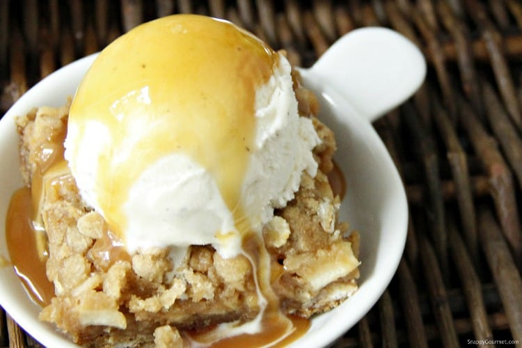 Caramel Apple Bars with ice cream and caramel sauce