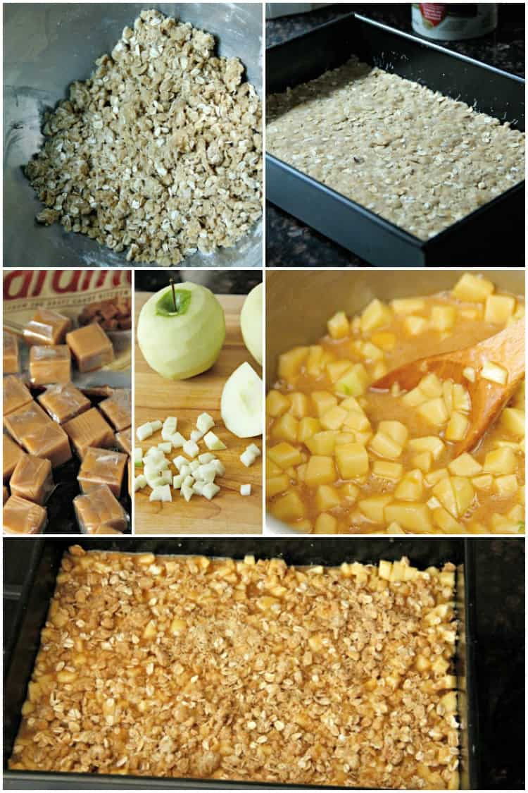 Caramel Apple Bars process shots