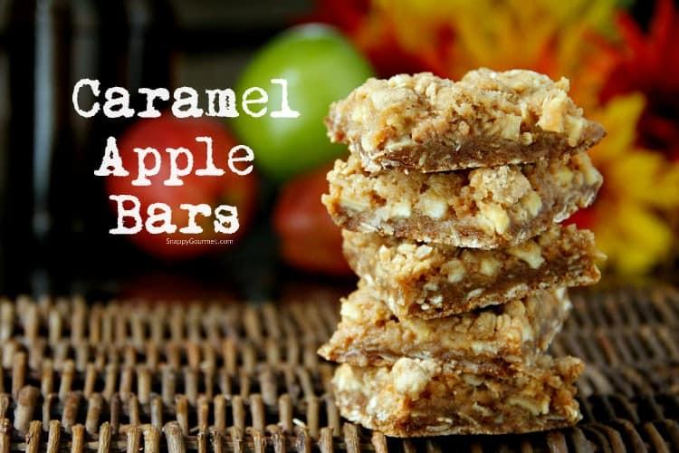 caramel apple bars stacked on tray