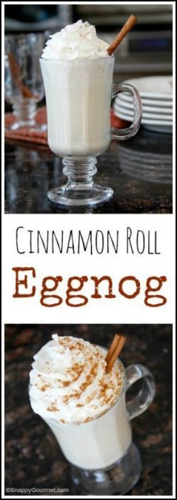 Cinnamon Roll Eggnog recipe - fun twist for an easy homemade eggnog. SnappyGourmet.com