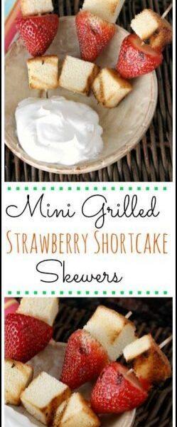 Easy Mini Grilled Strawberry Shortcake Skewers recipe - fun twist on strawberry shortcakes! SnappyGourmet.com
