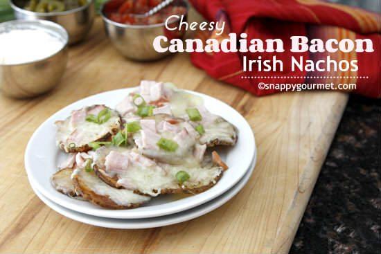 Cheesey Canadian Bacon Irish Nachos Recipe | snappygourmet.com
