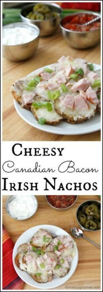 Cheesy Canadian Bacon Irish Nachos Recipe - easy party appetizer recipe | SnappyGourmet.com
