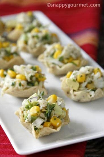 Corn and Crab Salad Tortilla Cups Appetizer Recipe | snappygourmet.com