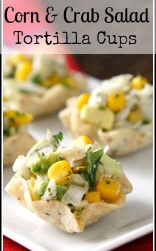 Corn and Crab Salad Tortilla Cups Appetizer Recipe   snappygourmet.com