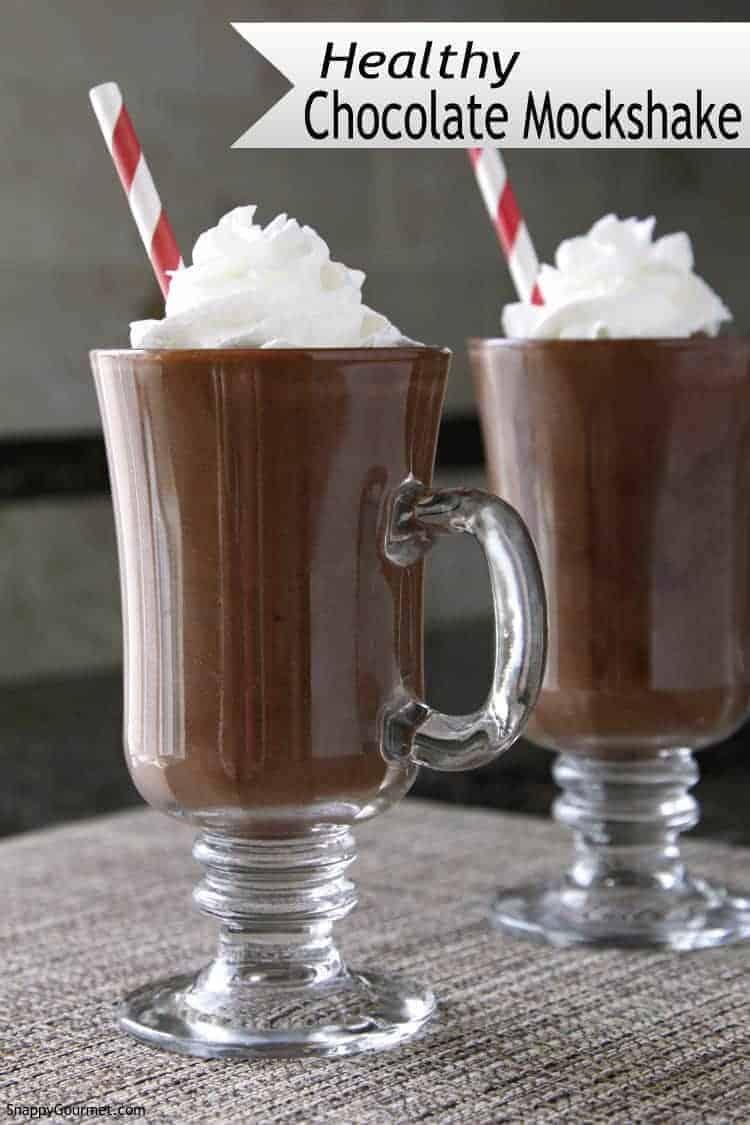 Healthy Chocolate Mockshake - a healthy chocolate milkshake recipe that is guilt free! SnappyGourmet.com
