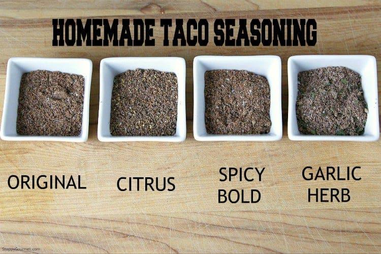 Homemade Taco Seasoning recipe - make your own taco seasoning in 4 flavors