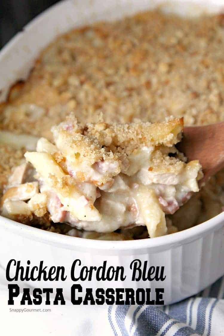 Chicken Cordon Bleu Pasta Casserole Recipe - easy chicken pasta casserole that is homemade