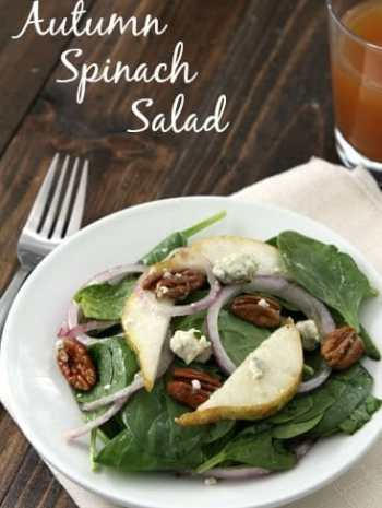 Autumn Spinach Salad - an easy fall salad recipe with spinach, pear, blue cheese, pecans, red onion, and an easy sweetened vinaigrette. SnappyGourmet.com