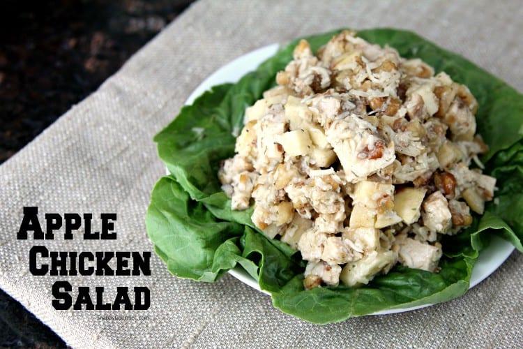 homemade chicken salad with apples on lettuce leaves